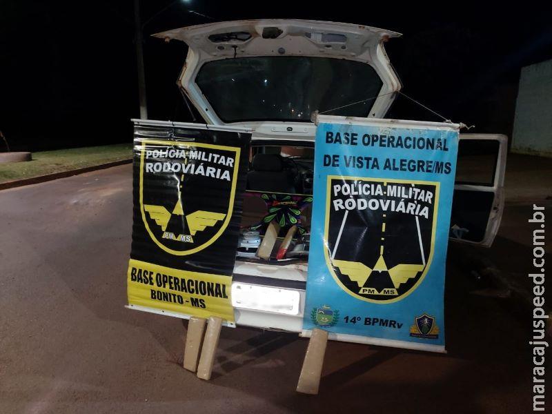 Polícia Militar Rodoviária localiza droga em caixa de som e cumpre mandado de prisão em Maracaju