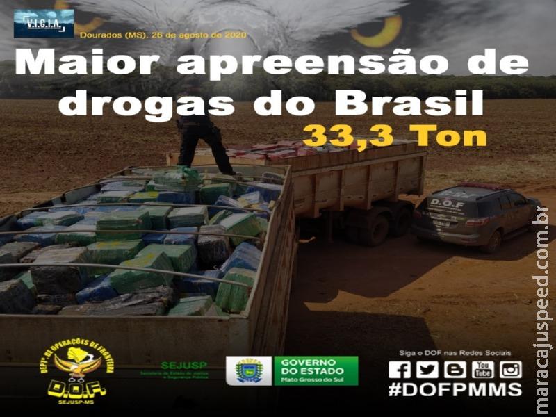 DOF realiza maior apreensão de droga do Brasil, no ano de 2020. Apreensão ocorreu na região de Maracaju