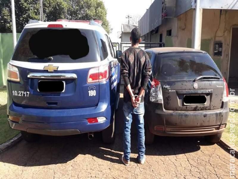 Maracaju: Polícia Militar recupera veículo Fiat Palio furtado e autor de furto é preso em Fátima do Sul