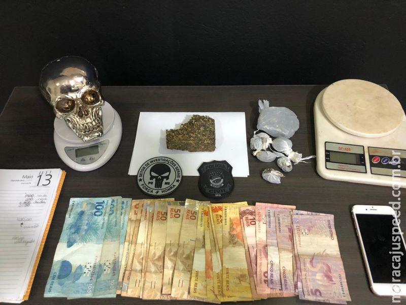 Polícia Civil fecha boca de fumo em Anastácio e prende traficante de 21 anos com drogas