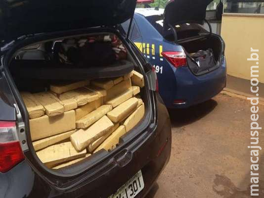 Carro com placas de São Paulo é flagrado com mais de 300 quilos de maconha em MS