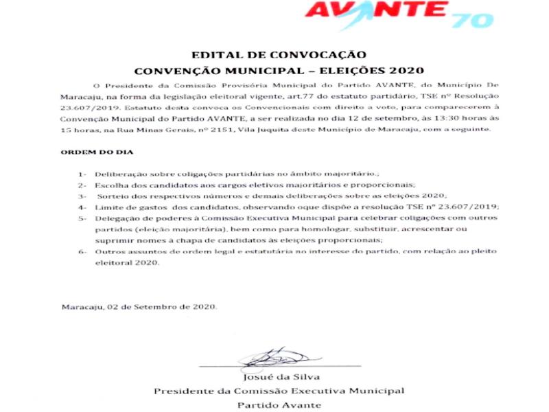 """EDITAL DE CONVOCAÇÃO CONVENÇÃO MUNICIPAL - ELEIÇÕES 2020 """"Partido AVANTE"""""""