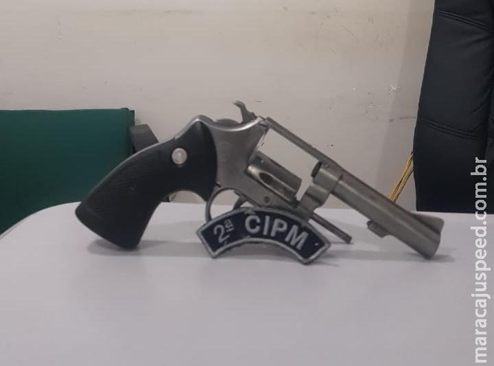 Maracaju: Polícia Militar apreende revólver calibre .38, após homem efetuar um disparo