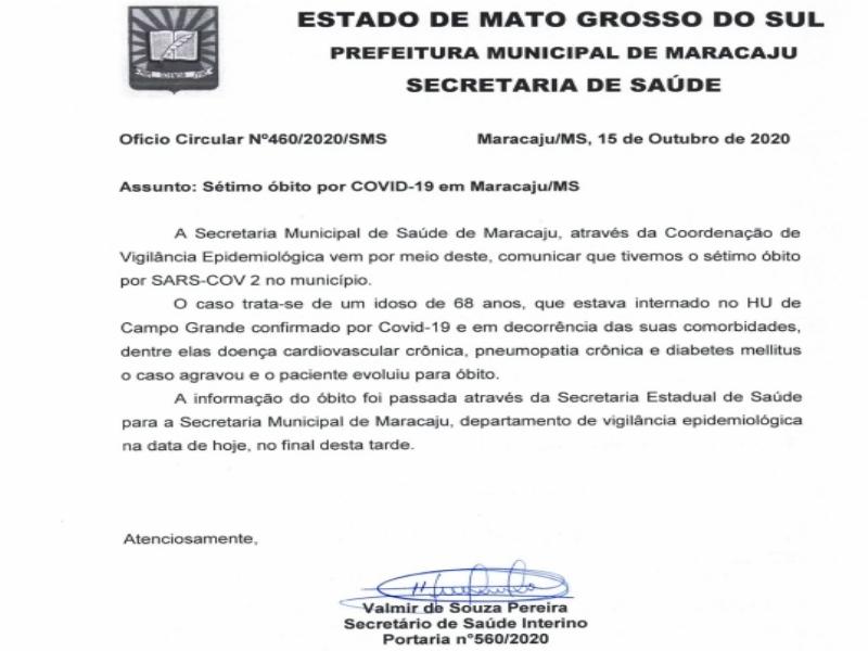 Maracaju teve o sétimo óbito devido ao COVID-19, segundo ofício circular da secretaria municipal de saúde