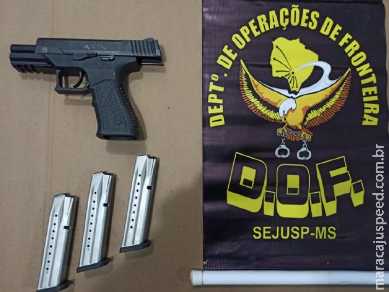 Homem que seguia para Campo Grande com arma de fogo foi preso pelo DOF durante a Operação Hórus