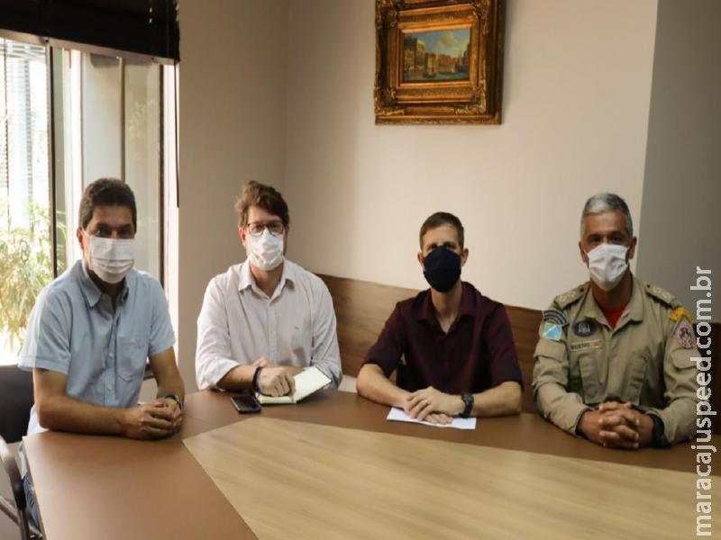 José Marcos Calderan se reúne com os comandantes da Policia Militar e Corpo de Bombeiro de Maracaju