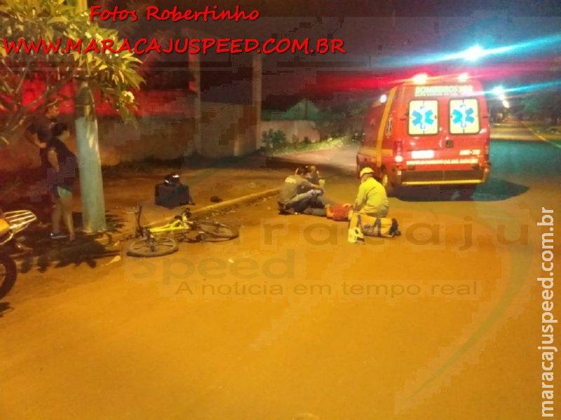 Maracaju: Corpo de Bombeiros e Polícia Militar atendem ocorrência de acidente envolvendo motociclista e ciclista. Vítima teve fraturas expostas em ambas as pernas