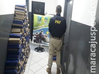 Perseguido por PM e PRF, traficante abandona 581 quilos de maconha