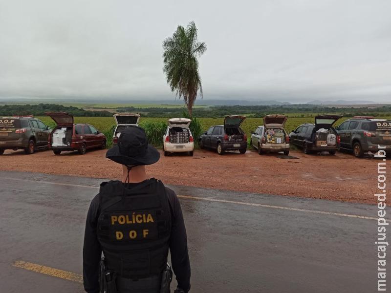 Comboio de veículos com produtos ilegais avaliados em mais de 600 mil reais foram apreendidos pelo DOF durante a Operação Hórus