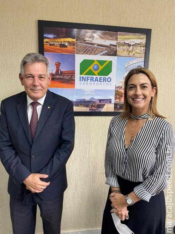 Senadora Soraya reúne-se com presidente da Infraero para tratar sobre aeroportos de Dourados e Bonito