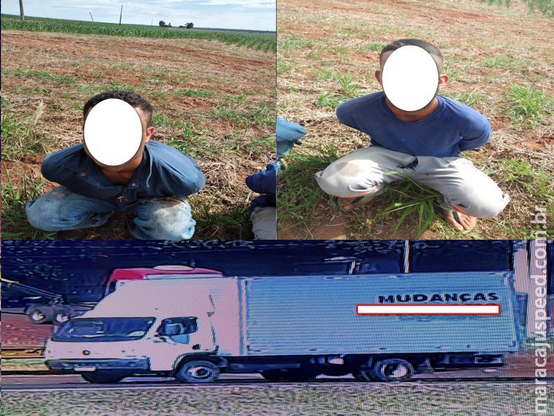 Maracaju: Caminhão tomado em assalto é recuperado na BR-163 e dupla de bandidos é presa