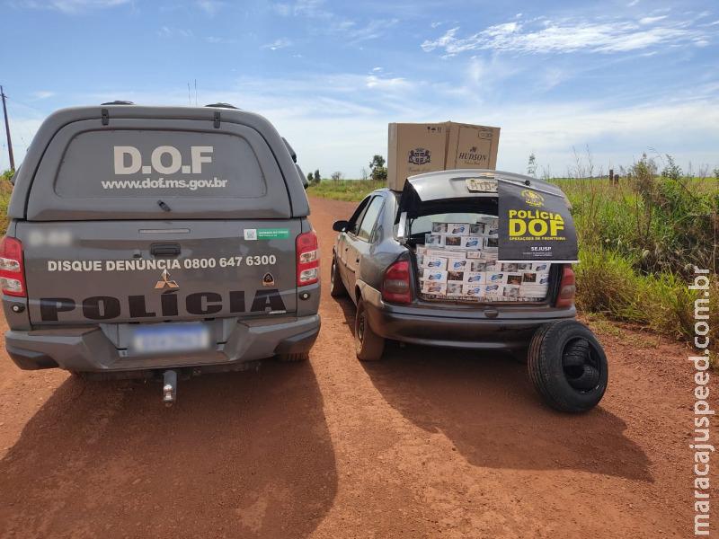 Maracaju: Veículo com cigarros e pneus contrabandeados do Paraguai foi apreendido pelo DOF durante a Operação Hórus