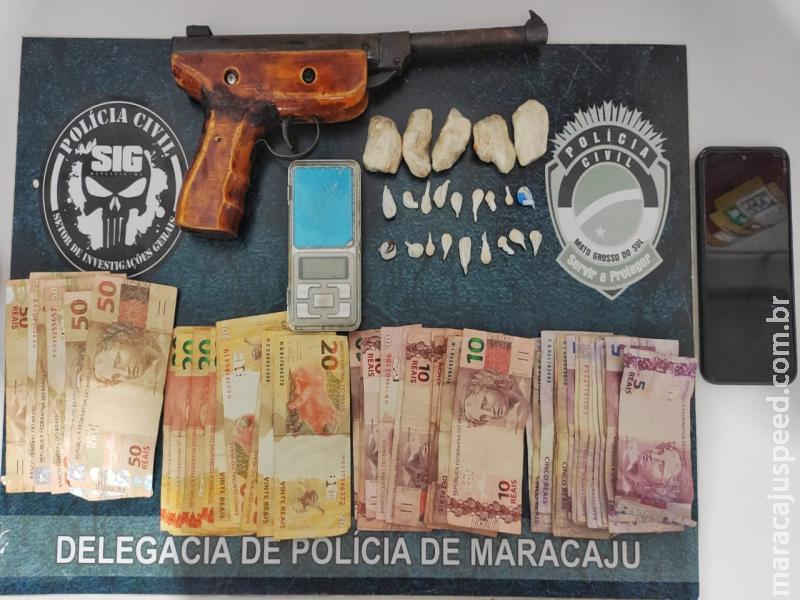 """Maracaju: Polícia Civil apreende em flagrante adolescente por tráfico de drogas e por posse de arma de fogo"""""""