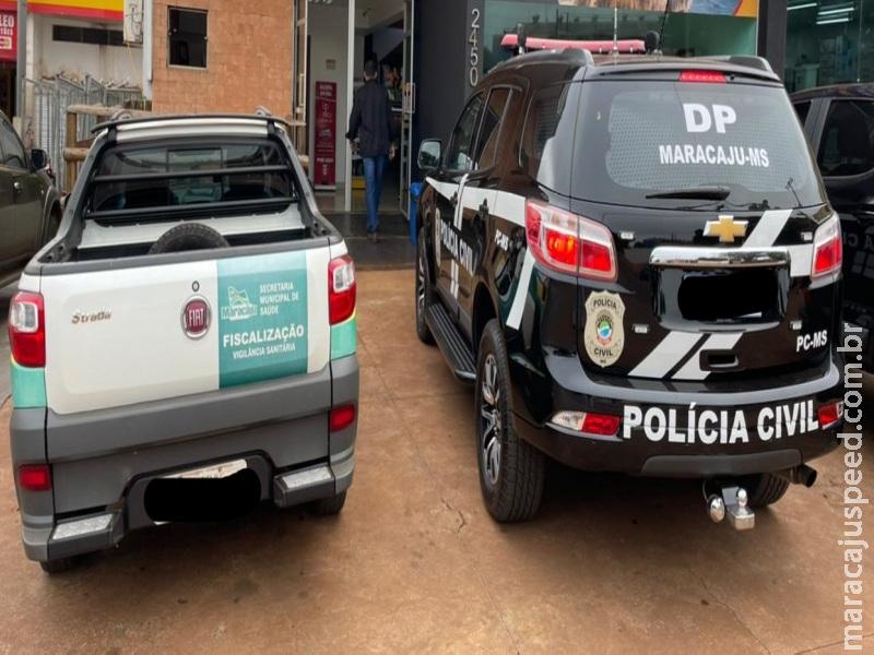 Polícia Civil e Vigilância Sanitária, em ação conjunta, realizaram fiscalização nos açougues de Maracaju