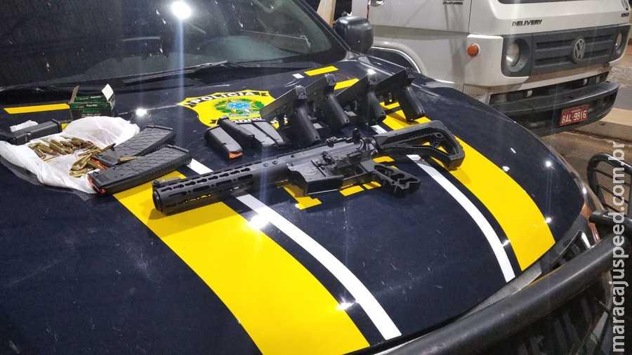 PRF apreende seis armas, munições, 830 Kg de maconha e 20 Kg de skunk em Terenos (MS)
