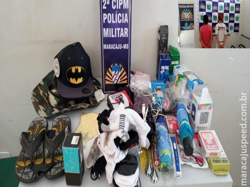 Maracaju: Polícia Militar recupera objetos furtados em loja de confecções, e identifica dupla de apenas 14 anos de idade, que confessaram serem os autores do furto