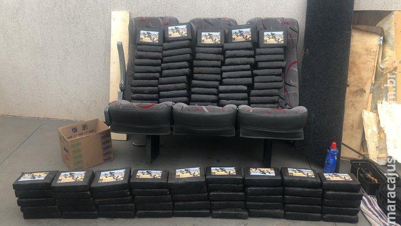 R$ 2,6 milhões em cocaína é apreendida dentro de van de passageiros em MS