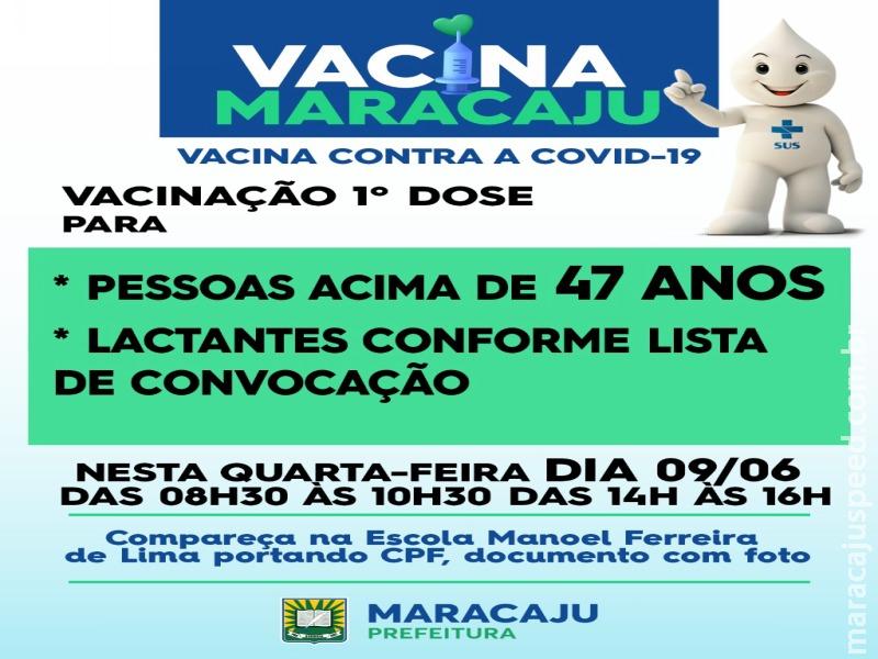 Secretaria de Saúde de Maracaju inicia vacinação da 1ª dose contra a COVID-19 para pessoas acima de 47 anos