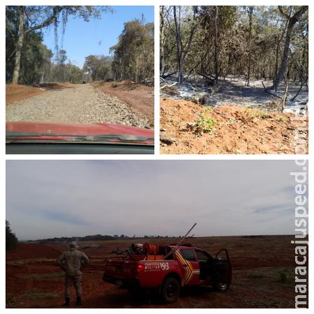 Corpo de Bombeiros realizou combate a incêndio florestal em área rural de Sidrolândia