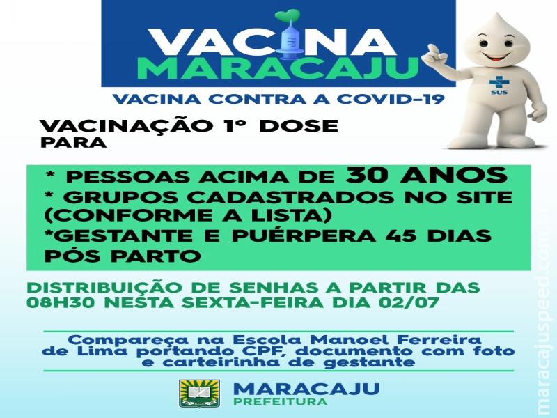 Maracaju avança na imunização da COVIOD-19 e pessoas acima de 30 ANOS poderão tomar a 1ª DOSE da vacina