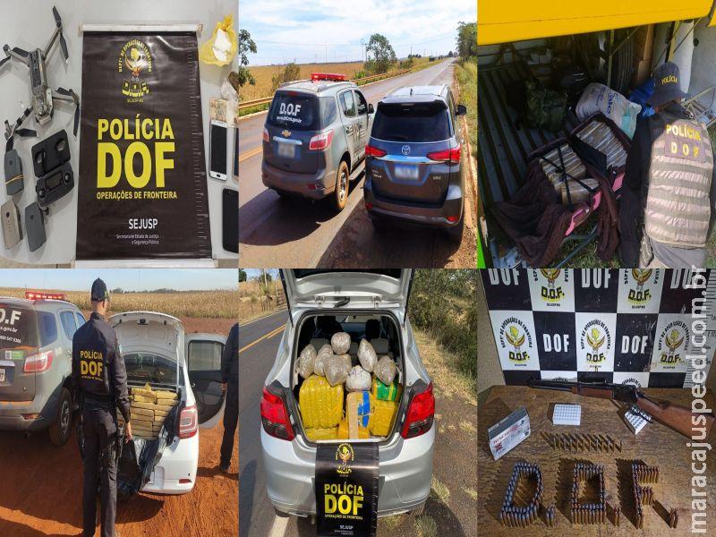 Maracaju: Drogas, armas de fogo, munições, veículos furtados e drone foram apreendidos pelo DOF no final de semana durante a Operação Hórus