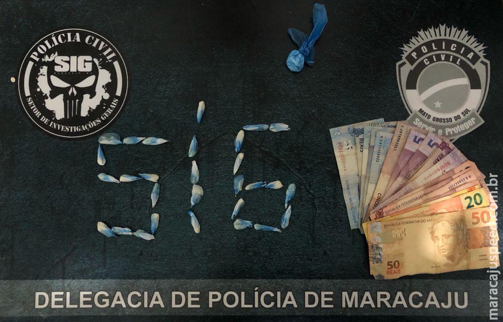 """""""Polícia Civil de Maracaju prende homem em flagrante por tráfico de drogas"""""""