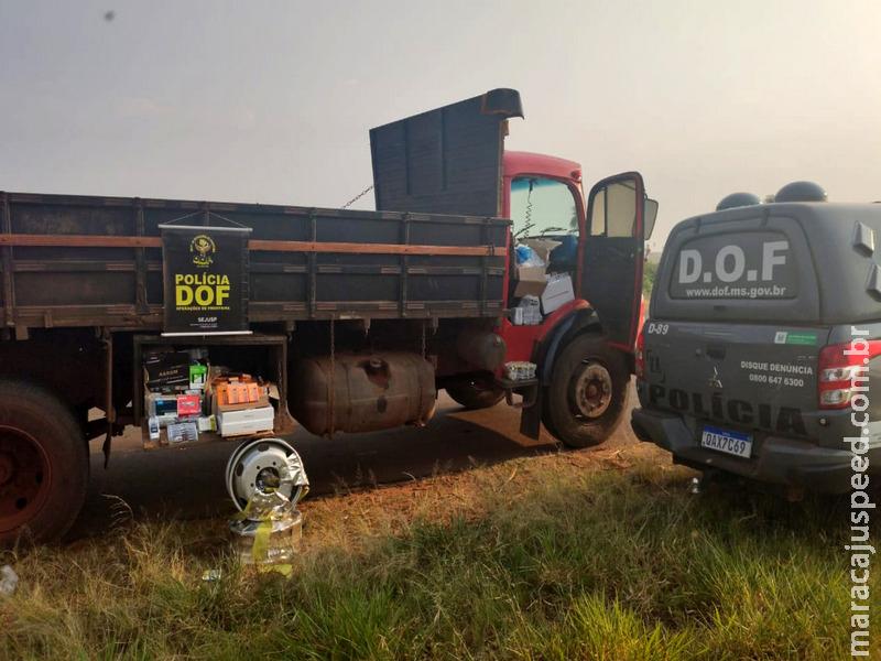 Caminhão carregado com produtos ilegais foi apreendido pelo DOF durante a Operação Hórus