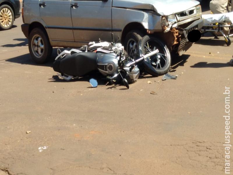 Maracaju: Condutor de veículo atravessa cruzamento em avenida preferencial e colhe motociclista. Jovem teve fratura exposta de fêmur esquerdo