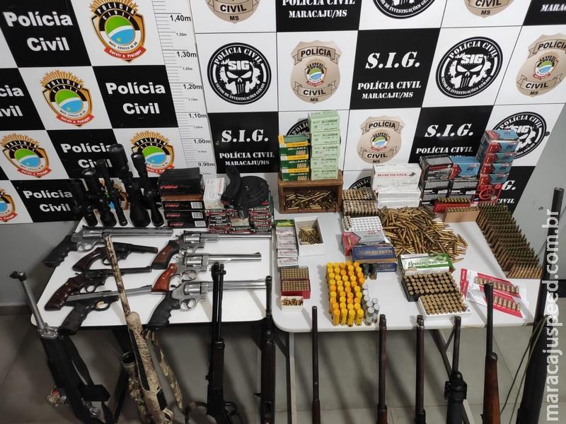 Polícia Civil de Maracaju cumpre três mandados de busca e prende em flagrante dois indivíduos por posse de armas de fogo de uso permitido e de uso restrito