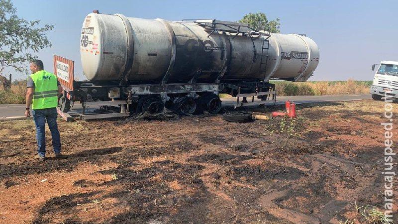 Rodas pegam fogo e por pouco incêndio não se alastra em bitrem com 36 mil litros de etanol