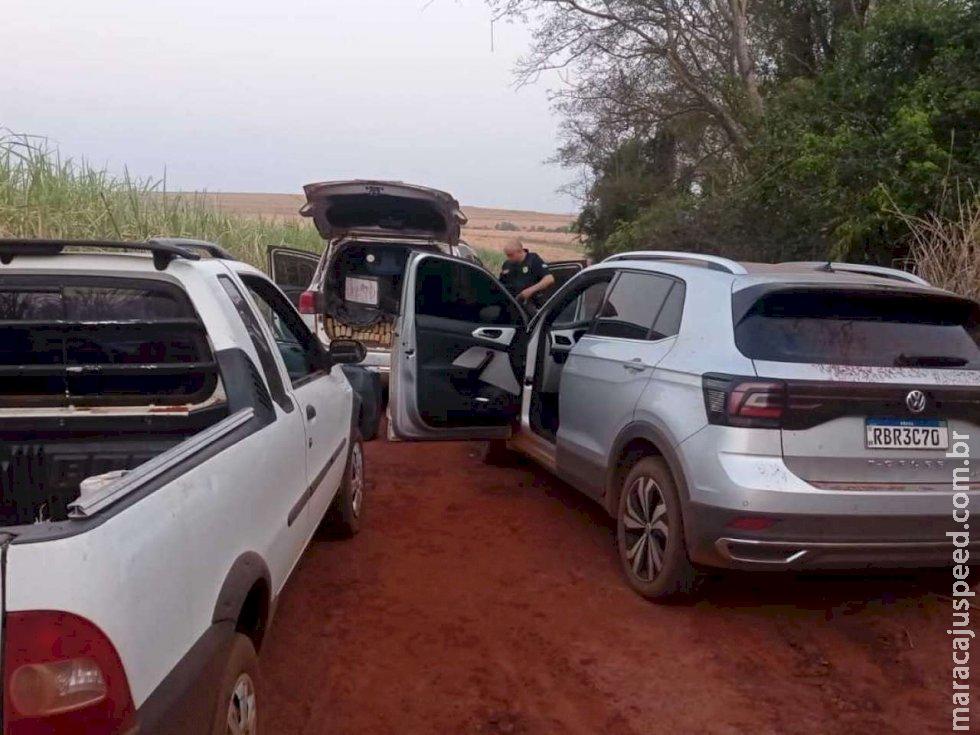 """Traficantes fogem e deixam para trás 3 veículos, um deles """"recheado"""" de droga em Rio Brilhante"""